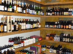 Even more shelves of wine, cider and sake...