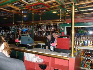 Frank and Francesca behind the bar