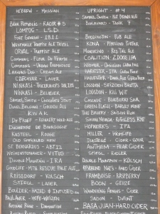 An extensive list of beers at the bar or to go.