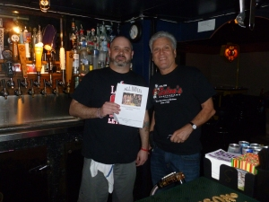 Bartender Brett and David Dickson with Thebeerchaser logo