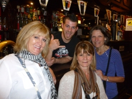 Wendie, Roxie and Janet with Hans, the bartender from the Devils Pub