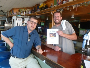 Bartender Chris and John Mansfield with Thebeerchaser logo