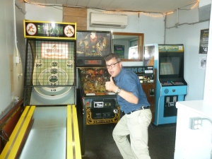 Mansfield  - His victorious expression has an inverse relation to his score at Skee Ball