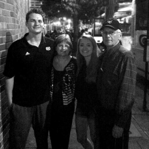 The Blakely family after the PSU game (Paul, Deborah, Sarah and Jud)