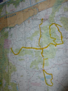The Route - From Prinevill on the West to Baker on the East - Diamond in the South and ending at Pendleton (North)