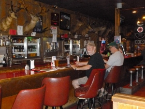 The bar at the Central Pastime. Patty was camera shy but impressed with the city slickers passing through.