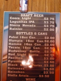 Four beers  on tap and   bottled and canned brews besides wine and cider