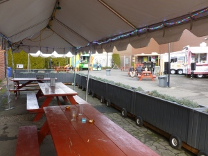 The patio and adjacent food carts
