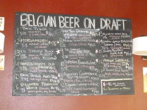 An extensive selection of Belgian beers.