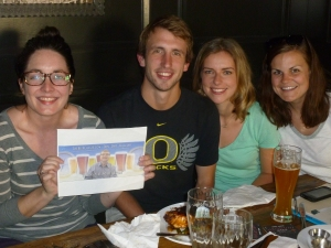 Our waitress, Leslie and Ryan, Laura and Kenzie with Thebeerchaser logo