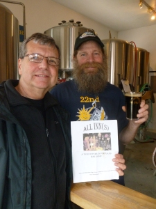 "Thebeerchaser and Peter with Spruce Tip Lager and the ""logo"""