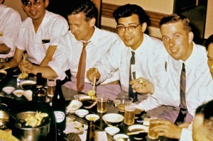 Faust at a liaison dinner with Japanese counter-intelligence personnel in Japan.