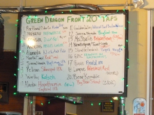 A robust selection of beers at the Green Dragon.