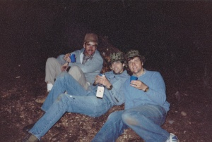 Regrouping at Wahtum Lake after a day of backpacking in the '70's. The Williams boys - Rick, Garry and Don