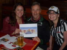 Owner Amy, Denny Ferguson and Jessica at the Cheerful Bullpen
