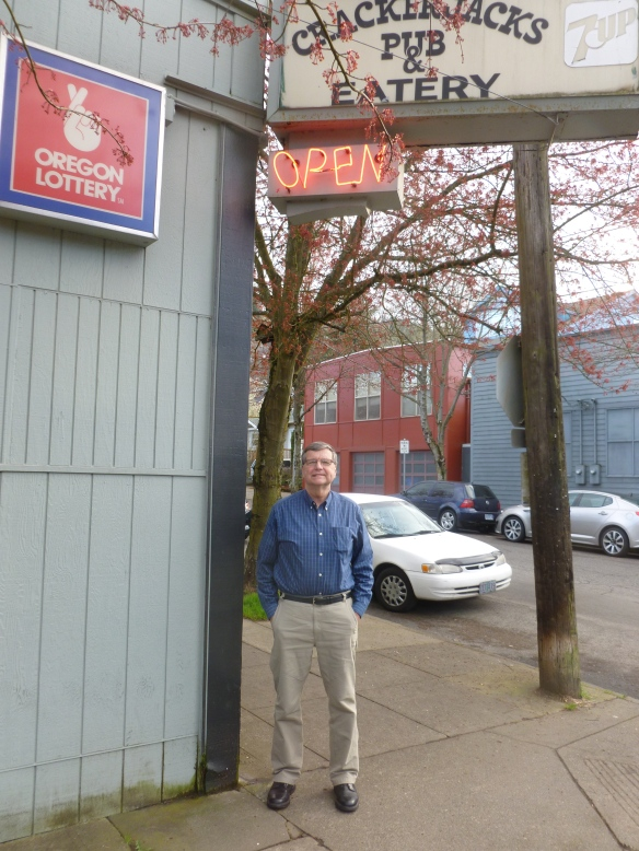 Thebeerchaser on one of the three visits to his favorite 2014 bar - Crackerjacks in NW Portland