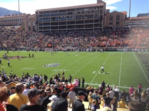 The Beavs beat the Buffaloes in Boulder - note the orange contingent on the right