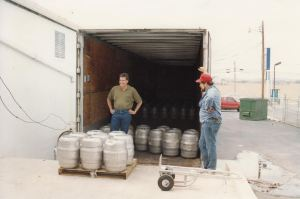 A much younger, Kevin Brannon inspecting his product in Frederick, Md.