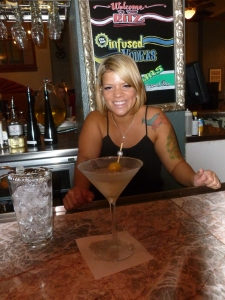 Blair and her outstanding dirty gin martini (up with olives..)