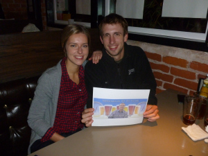Laura Williams and Ryan Beerchasing at Quimbys
