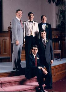 Rick's Wedding in 1986 - Three Navy Guys (Dave, Rick and Don), a minister and an Army Guy (Garry)