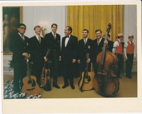 Garry (3rd from left) and the West Point Glees Club at the White House with President Nixon in 1971