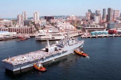 The USS CORONADO in Seattle Harbor