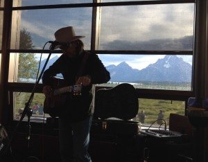 Listening to live music in the bar at Jackson Lake Lodge in the Tetons