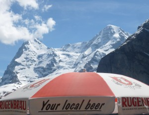 Bier at the top of Mt. Schilthorn in Switzerland