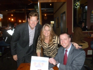 Beerchaser regulars, Dan Swift and Mike Jones with Michelle and Thebeerchaser logo