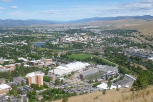 Looking down on Missoula and the University of Montana campus