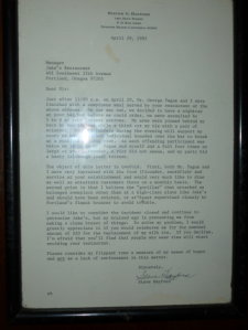 The Hayford letter still on display at Jakes