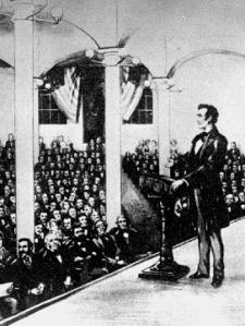Abraham Lincoln speaking in Cooper Union's Great Hall February 27, 186
