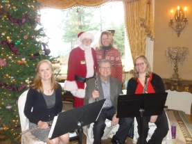 From l to r - Sarah Rose, Santa, Don Williams, Faith Carter and Kelly Gronli