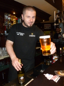 Cheers - a Moretti at the Devil's Forest Pub in Venice in 2012