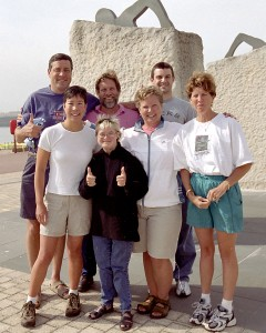 The Gaffney Team after the successful swim of the English Channel.  Tim first in the back row and Karen Gaffney in the front.
