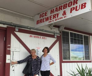 Pam Williams and Janet at the entrance to the historic depot