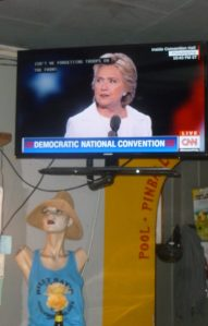 Hillary in acceptance speech while Milania in the hat listens along with Cheryl....