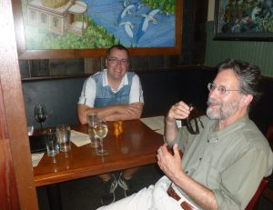 The University of Portlands Dr. Sam Holloway and Brian Doyle at the St. Johns Pub