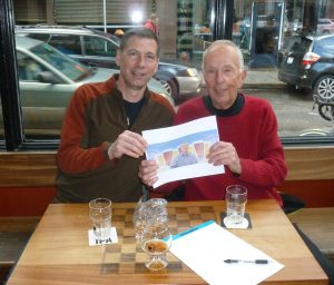 Charlie and Jack Faust with Thebeerchaser logo at Baileys Tap room sans food.....!