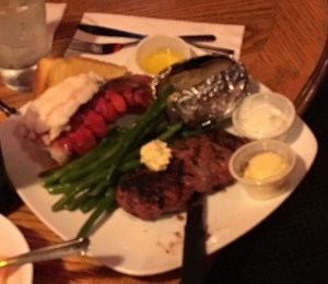 Steak and lobster - but not on the house....